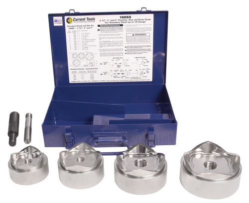 "Current Tools 166SS 2 ½"", 3"", 3 ½"" and 4"" Knockout Punch and Die Set for Stainless Steel"