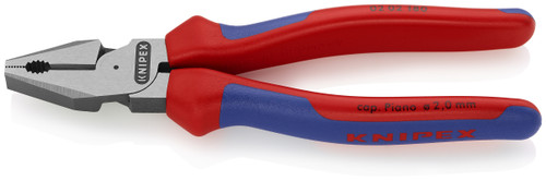 Knipex 02 02 180 7 1/4'' High Leverage Combination Pliers-Comfort Grip