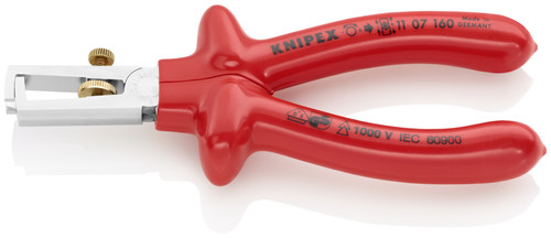 Knipex 11 07 160 6 1/4'' End-Type Wire Stripper-Dipped 1,000V Insulated