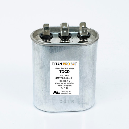 Packard TOCD305 TITAN PRO Run Capacitor 30+5 MFD 370 Volt Oval Replaces 12969