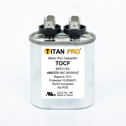 Packard TOCF2.5 TITAN PRO Capacitor 2.5 MFD 440/370 Volt Oval Replaces 12019