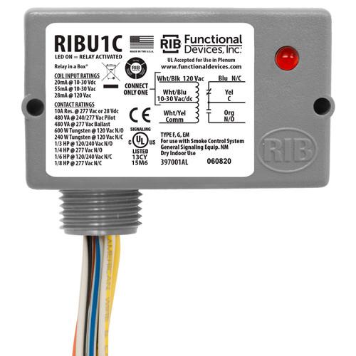 Functional Devices RIBU1C Enclosed Pilot Relay 10Amp SPDT 10-30Vac/dc/120Vac
