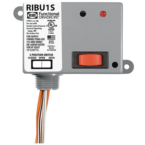 Functional Devices RIBU1S Enclosed Pilot Relay 10Amp SPST-N/O 10-30Vac/dc or 120Vac + Override