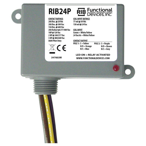 Functional Devices RIB24P Enclosed Pilot Relay 20 Amp DPDT 24 Vac/dc