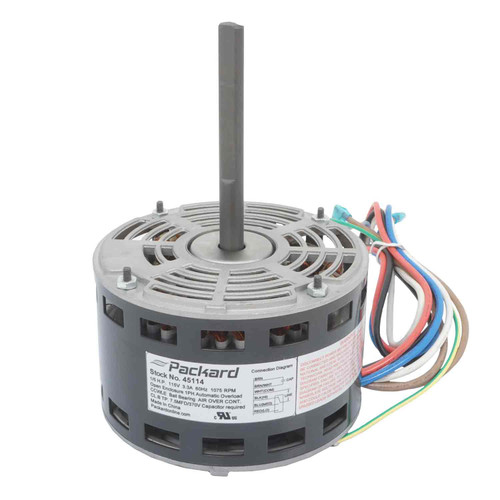 Packard 45114 1/5 HP 1075 RPM 115V PSC Motor Replaces Carrier HC37AE114