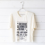 """-Ivory -Creedence Clearwater Revival -Black Text -Short Sleeve -Cropped -T-Shirt  Size X-Large  Material: 100% Cotton  Clothing Measurements: Bust: 24"""" Length: 21"""" Sleeve Length: 9"""""""