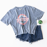 """-Gray -Pink Floyd Concert Tee -Short Sleeve -Distressed -Cropped -T-Shirt  Material: 100% Cotton  Clothing Measurements: Bust: 20"""" Length: 18"""" Sleeve Length: 8.5"""""""