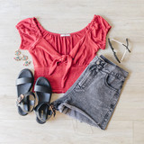 -Red -Crop -Low-Cut -Peasant -Bow -Can be Warn Off-Shoulder  Model is Wearing Size Small  Material: 65% Polyester 34% Ryon 1% Spandex  T11249 CROP RED