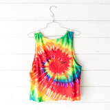 "-Rainbow Tie-Dye  -Coronado California Graphic -Cropped -Tank Size Medium  Material: 100% Cotton  Clothing Measurements: Bust: 19.5"" Length: 20"" Strap Width: 2"""