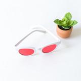 -White Frames -Red Lens -Retro -Sunglasses -Light Lens
