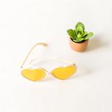 -Ivory Frames -Yellow Lenses -Oversize -Heart -Sunglasses -Light Lens