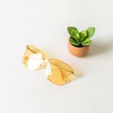 -Gold Frames -Yellow Lenses -Oversize -Sunglasses -Light Lens