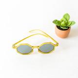 -Chartreuse Frames -Gray Lenses -Octagon -Sunglasses -Med-Dark Lens