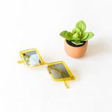 -Chartreuse Frames -Gray Lenses -Diamond -Sunglasses -Med-Dark Lens