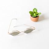 -White -Gold Frames -Mirror Lenses -Lips -Sunglasses -Med-Dark Lens