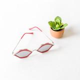-Red -Silver Frames -Mirror Lenses -Lips -Sunglasses -Med-Dark Lens
