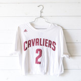 """-White -Cavaliers -Irving #2 -Copped -T-Shirt  Size: Large  Material: 100% Cotton  Clothing Measurements: Bust: 20"""" Length: 19"""" Sleeve Length: 8"""""""