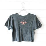 "-Black -Harley Davidson -Scoop Neck -Rhinestones -Short Sleeve -Cropped -T-Shirt  Size XXL Material: 100% Cotton  Clothing Measurements: Bust: 18"" Length: 17.5"" Sleeve Length: 7.5"""