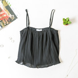 -Black -Pleated -Ruffles -Spaghetti Straps -Adjustable Straps -Cami/Tank -Lined -Comes in 5 Colors  Material: 100% Polyester  FL20F729-TANK-BLK
