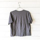 """-Charcoal Grey -Tie-Dye Letters -T-Shirt -Short Sleeve -Cropped  Material: 100% Cotton  Clothing Measurements: Bust: 19"""" Length: 23"""" Sleeve Length: 8.5"""""""