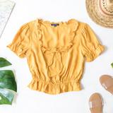 -Mustard -Ruffles -Ties -Elastic Waist/Sleeves -Short Sleeves -Crop  Material: 100% Rayon  WT35424 TOP YEL