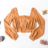 -Terracotta -Lace -Buttons -Long Sleeve -Cuffed -Square Neck -Top -Comes in 3 Colors  Material: 100% Rayon   WT37572L TOP RST