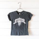 "-Black -Asphalt Angel Graphic -Short Sleeve -Cropped -T-Shirt  Size Medium  Material: 100% Cotton  Clothing Measurements: Bust: 14"" Length: 18.5"" Sleeve Length: 4"""