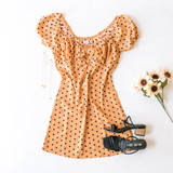 -Amber -Polka Dots -Front Tie -Puff Sleeves -Milkmaid -Dress -Lined -Comes in 3 Patterns  Material: Self: 100% Polyester Lining: 100% Rayon  JBD1156 DRESS YELD