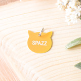 """-Golden Yellow -SPAZZ -Acrylic -Cat Tag  Size 1""""x1"""""""