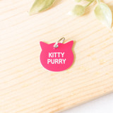"""-Hot Pink -KITTY PURRY -Acrylic -Cat Tag  Size 1""""x1"""""""