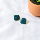 -Deep Teal -Gold -Rounded Square -Stud -Earrings