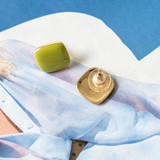 -Chartreuse -Gold -Rounded Square -Stud -Earrings