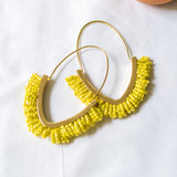 -Gold -Chartreuse Beads -Oval Hoop -Earrings