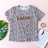 -White -Leopard Print -Safari -Faux Fur Letters -Oversized -Short Sleeve -T-Shirt  Model is Wearing Size Medium  Material: 94% Cotton 6% Spandex  CT5719 TEE SAF