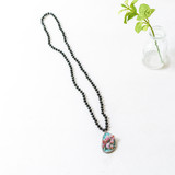 -Black Beads -Turquoise Pendant Charm -Mid Torso Length