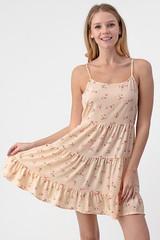 SOFT PINK FLORAL LAYERED RUFFLE DRESS
