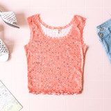 -Coral -Floral Print -Pointelle -Lettuce Edge -Lace Trim -Fabric Stretches -Comes in 4 Colors -Tank  Material: 85% Polyester 15% Rayon  JK38273P TANK ORGF