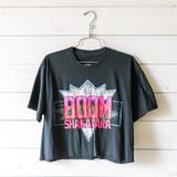 """-Black -Boom Shakalaka Graphic -Crew Neck -Short Sleeve -Cropped -T-Shirt  Size Large  Clothing Measurements: Bust: 21"""" Length: 19"""" Sleeve Length: 8"""""""