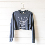 """-Navy -Embroidered -Mickey Graphic -Crew Neck -Long Sleeve -Cropped -Sweater  Size X-Small  Clothing Measurements: Bust: 19"""" Length: 15.5"""" Sleeve Length: 24"""""""