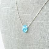 "-Silver Chain -Blue Hamsa Hand -Adjustable Length -Necklace  Chain Length: 19-21"""