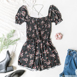 -Black -Floral Print -Elastic Neckline -Square Neck -Smocked -Unlined -Fabric Stretches -Comes in 3 Colors -Romper  Material: 100% Rayon  AR35151P ROMP BLKF