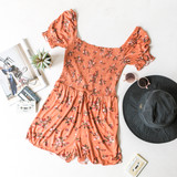 -Terracotta -Floral Print -Elastic Neckline -Square Neck -Smocked -Unlined -Fabric Stretches -Comes in 3 Colors -Romper  Material: 100% Rayon  AR35151P ROMP CMLF