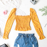 -Mustard -Floral -Square Neck -Smocked -Long Sleeve -Elastic Neckline -Shirred Waist -Elastic Wrist -Fabric Stretches -Comes in 6 Colors -Crop  Material: 96% Polyester 4% Spandex  JT33045 TOP YEL
