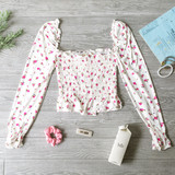 -White -Floral -Square Neck -Smocked -Long Sleeve -Elastic Neckline -Shirred Waist -Elastic Wrist -Fabric Stretches -Comes in 6 Colors -Crop  Material: 96% Polyester 4% Spandex  JT33045 TOP WHTF