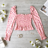 -Pink -Floral -Square Neck -Smocked -Long Sleeve -Elastic Neckline -Shirred Waist -Elastic Wrist -Fabric Stretches -Comes in 6 Colors -Crop  Material: 96% Polyester 4% Spandex  JT33045 TOP PNKF