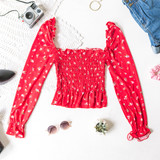 -Red -Floral -Square Neck -Smocked -Long Sleeve -Elastic Neckline -Shirred Waist -Elastic Wrist -Fabric Stretches -Comes in 6 Colors -Crop  Material: 96% Polyester 4% Spandex  JT33045 TOP REDF