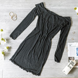 -Black -Off Shoulder -Knit -Lettuce Edge -Fabric Stretches -Lightweight -Comes in 3 Colors -Unlined -Mini -Dress  Model is Wearing Size Small  Material: 76% Rayon 21% Polyester 3% Spandex   RD33318 DRESS BLK