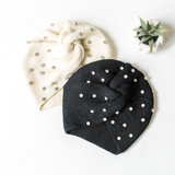 -Black -Knit -Large Rhinestones -Knot -Comes in 2 Colors -Fabric Stretches -Beanie