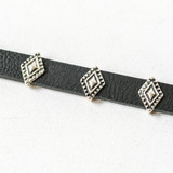 """-Black -Leather -Silver Charms -Adjustable -Clasp -Choker  Length: 12-15.5"""""""
