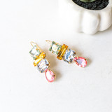 -Gold -Colorful Stones -Dangle -Earrings